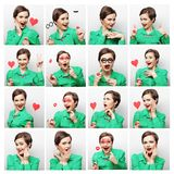 Collage of woman different facial expressions. Royalty Free Stock Image