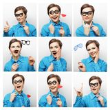 Collage of woman different facial expressions. Royalty Free Stock Photos