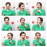 Collage of woman different facial expressions. Stock Photography