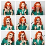 Collage of woman different facial expressions. Stock Images