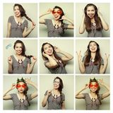Collage of woman different facial expressions Stock Photography