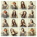 Collage of woman different facial expressions Stock Image