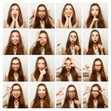 Collage of woman different facial expressions Stock Images