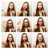Collage of woman different facial expressions Royalty Free Stock Image