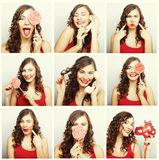 Collage of woman different facial expressions Royalty Free Stock Photos