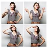 Collage of woman different facial expressions. Royalty Free Stock Images