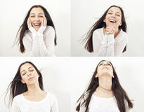 Collage of woman different facial expressions Stock Photos