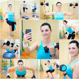 Collage of woman doing different exercises in gym Royalty Free Stock Image