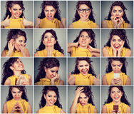 Collage of a woman expressing different emotions and feelings. Collage of a young woman expressing different emotions and feelings royalty free stock photography