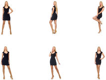 The collage of woman in fashion look isolated on white Stock Images