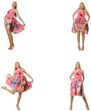 The collage of woman in fashion look isolated on white Stock Photos