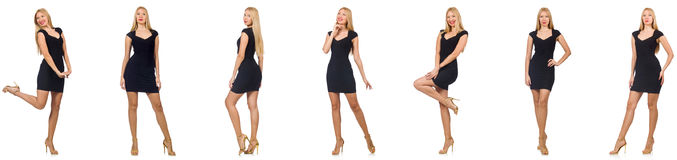 The collage of woman in fashion look isolated on white Royalty Free Stock Photos