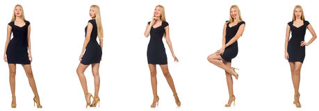 The collage of woman in fashion look isolated on white Royalty Free Stock Images