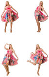 The collage of woman in fashion look isolated on white Royalty Free Stock Photo