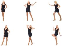 The collage of woman in fashion look isolated on white Royalty Free Stock Image