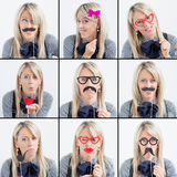 Collage of woman funny faces Stock Photos