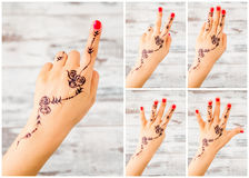 Collage from Woman Hand with Henna Counting Numbers from One to Royalty Free Stock Photo