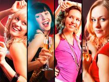 Collage of woman party. Collage of Dancing  happy young girls  on the party Stock Photos