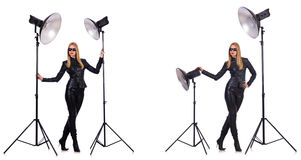 The collage of woman during photo shoot isolated on white Stock Images