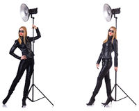 The collage of woman during photo shoot isolated on white Stock Photos