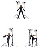 The collage of woman during photo shoot isolated on white Royalty Free Stock Image