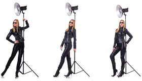 The collage of woman during photo shoot isolated on white Stock Photography