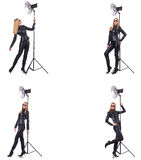 The collage of woman during photo shoot isolated on white Stock Image