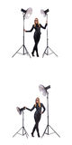 The collage of woman during photo shoot isolated on white Royalty Free Stock Photography
