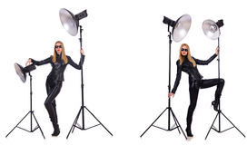 The collage of woman during photo shoot isolated on white Royalty Free Stock Photo