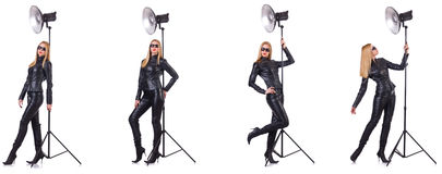 The collage of woman during photo shoot isolated on white Royalty Free Stock Images