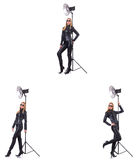 The collage of woman during photo shoot isolated on white Royalty Free Stock Photos