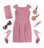 Collage of woman pink summer dress and accessories on white. Collage of woman pink summer dress and accessories isolated on white background Royalty Free Stock Photos