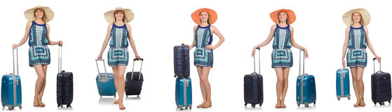 The collage of woman preparing for summer vacation isolated on white Royalty Free Stock Images