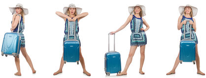 The collage of woman preparing for summer vacation isolated on white Stock Images