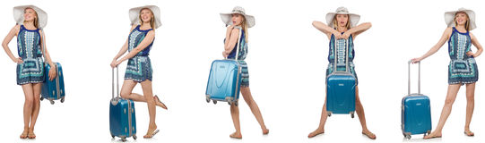 The collage of woman preparing for summer vacation isolated on white Royalty Free Stock Photos