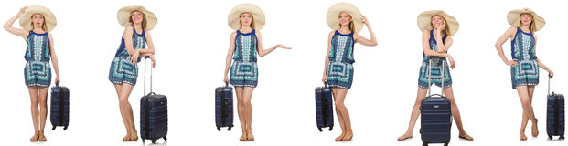 The collage of woman preparing for summer vacation isolated on white Stock Photography