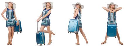 The collage of woman preparing for summer vacation isolated on white Stock Photo