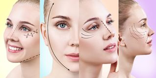 Collage of woman`s faces with lifting arrows. Over colorful background royalty free stock image