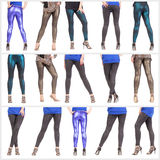 Collage woman's sexy legs and buttocks clad in shimmering leggin Royalty Free Stock Photography