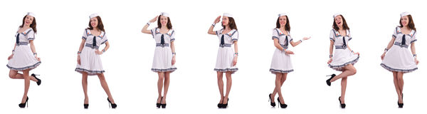 The collage of woman sailor isolated on white. Collage of woman sailor isolated on white Royalty Free Stock Images