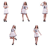 The collage of woman sailor isolated on white. Collage of woman sailor isolated on white Royalty Free Stock Photography