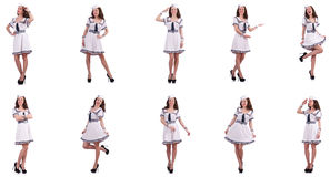 The collage of woman sailor isolated on white. Collage of woman sailor isolated on white Stock Photo