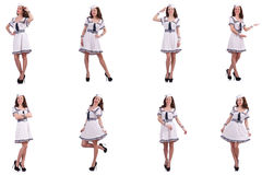 The collage of woman sailor isolated on white. Collage of woman sailor isolated on white Stock Photography
