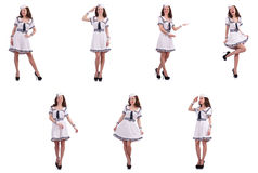 The collage of woman sailor isolated on white. Collage of woman sailor isolated on white Stock Image