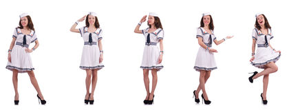 The collage of woman sailor isolated on white. Collage of woman sailor isolated on white Stock Images