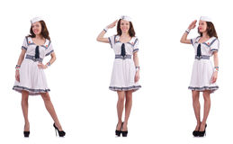 The collage of woman sailor isolated on white Stock Photography