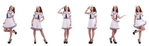 The collage of woman sailor isolated on white Stock Image