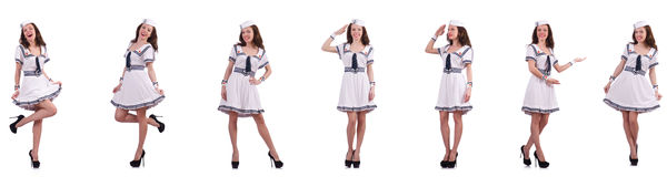 The collage of woman sailor isolated on white. Collage of woman sailor isolated on white Royalty Free Stock Photo