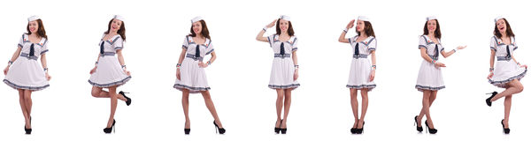 The collage of woman sailor isolated on white Royalty Free Stock Photography