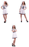 The collage of woman sailor isolated on white. Collage of woman sailor isolated on white Stock Photos